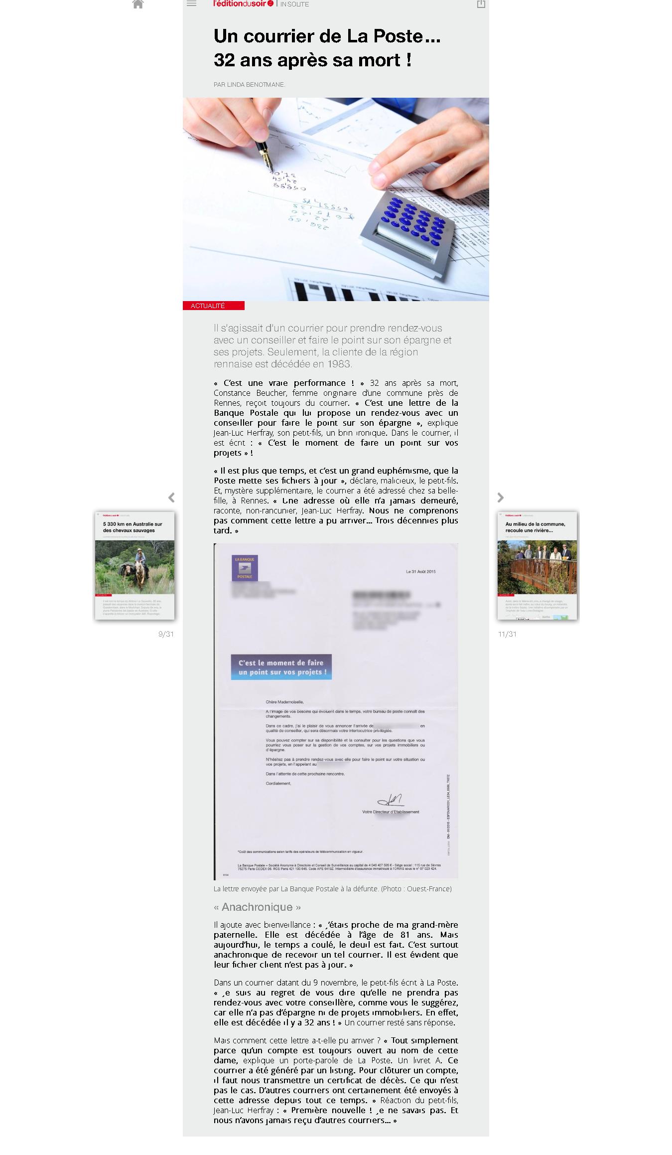 Un courrier de La Poste… 32ans après sa mort! - Edition du soir Ouest France - 17_11_2015